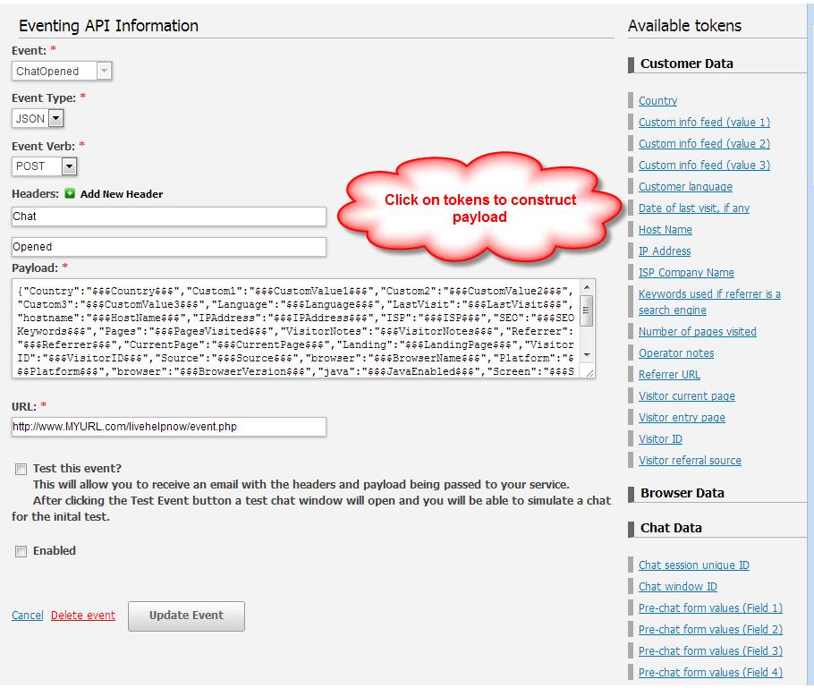 Eventing API setup