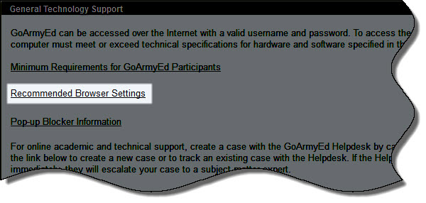 Recommended Browser Settings Link