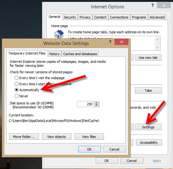 Open your Internet Explorer web browser, go to Internet Options