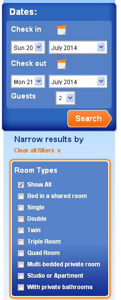 Room Type Tick Boxes