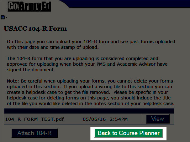Cadet Student - How do I upload a Form 104-R (Planned Academic ...