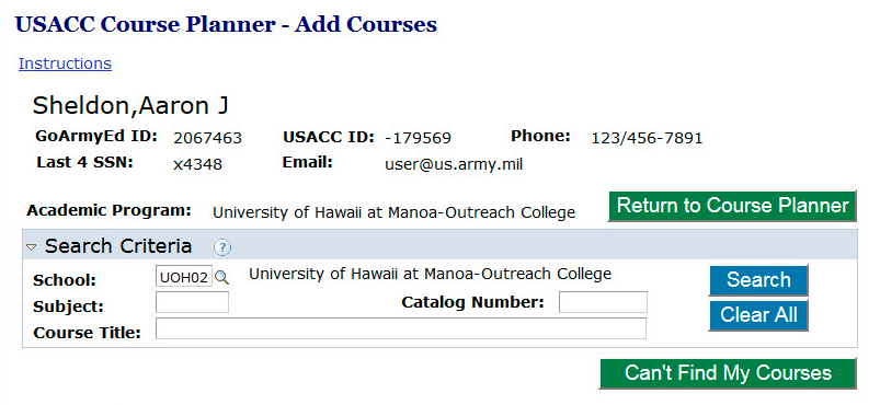 cadet student how do i complete the usacc course planner print