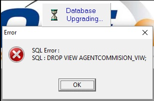 Delphi) Upgrade database prompted SQL : DROP VIEW AGENTCOMMISION_VIW