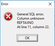 Delphi] Payment voucher prompt error qrLoadDetails: Field 'REFTAXNO