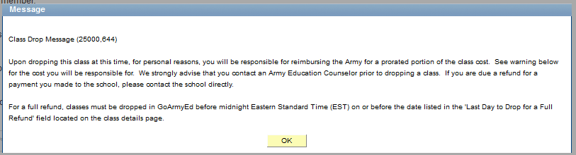 Drop Class in GoArmyEd Step 8