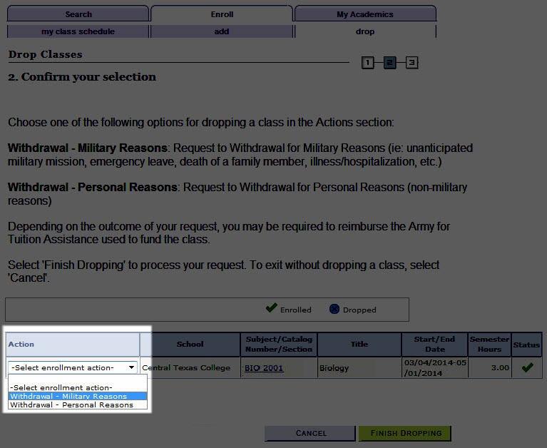 Step 5a Military Reason
